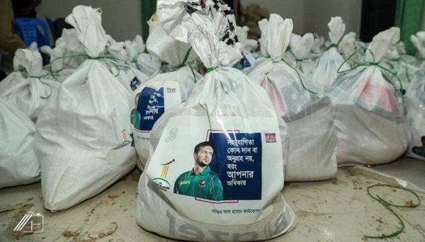 Shakib provides food aid to 350 Bogura families