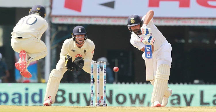 Sharma hits first Test century against England