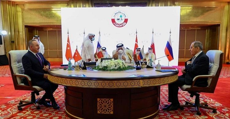 Turkey, Russia, Qatar push for political resolution in Syria
